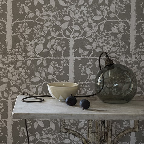 Walled Garden in Ash, hannd printed wallpaper