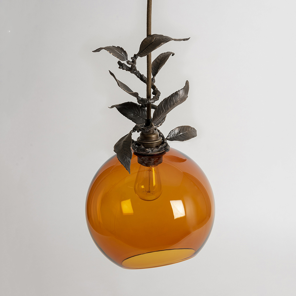 Globe Pendant Light with Leaf Garland